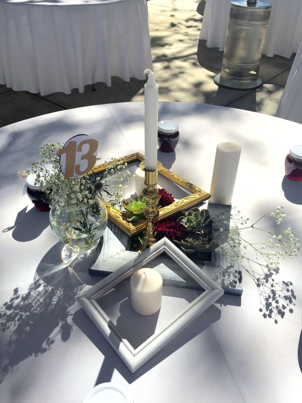 Diy painted frames succulents wedding center pieces ashley