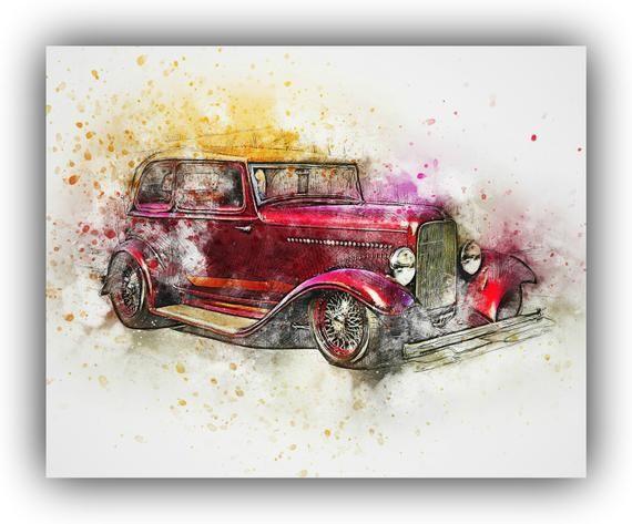 Classic Car Printable Car Art Car Nursery Digital Print | Etsy