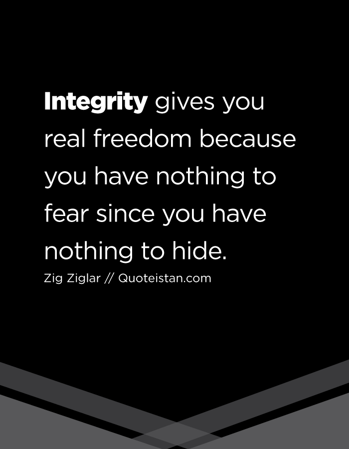 Integrity Gives You Real Freedom Because You Have Nothing To Fear