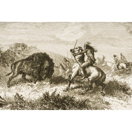 American Indians Buffalo Hunting From American Pictures Drawn With Pen And Pencil By Rev Samuel Manning Circa 1880 Canvas Art - Ken Welsh Design Pics (17 x 11)