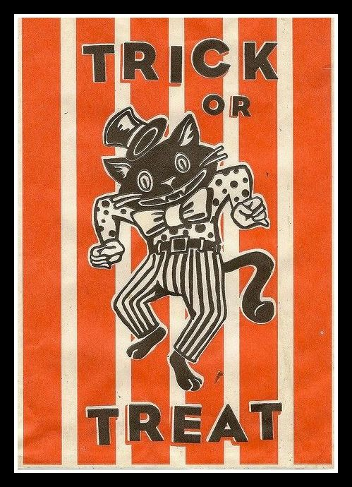 A Cat And Halloween Two Of My Favorite Things Together Vintage Treat Bag Image