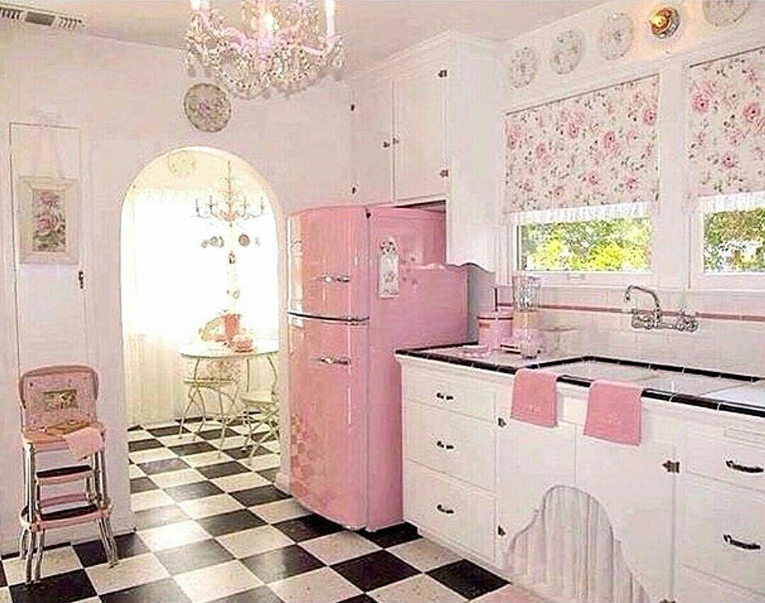 Taramisioux Cozinha Rosa Vintage Cozinha Corderosa Pink Lightpink Rosapastel Rosamillennial Rosaclar Shabby Chic Kitchen Retro Home Decor Pink Kitchen