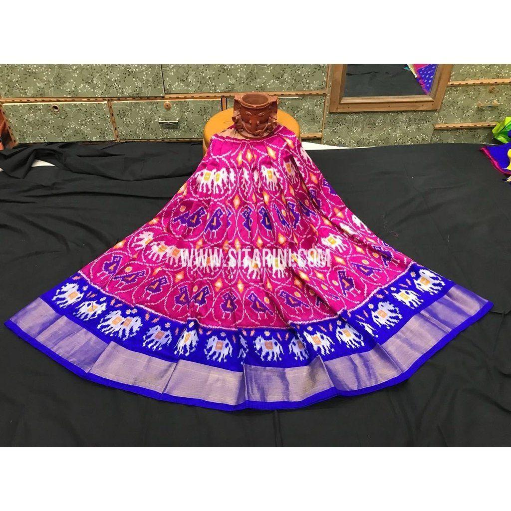 739190189bba9 Ikkat Pattu Langa Voni-Magenta and Royal Blue-3 to 8 Years-PGMHIPLK213