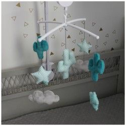 Mobile Musical Theme Cactus Bleu Aqua Canard Et Gris Clair
