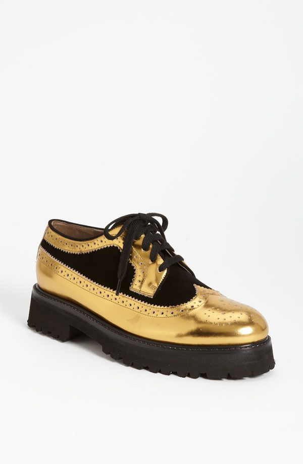 Marni Lace-Up Oxford- Gold/Black
