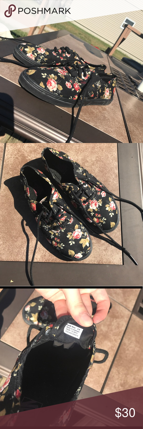 black floral vans youth size 3 womens size 5 perfect condition 08e83c733