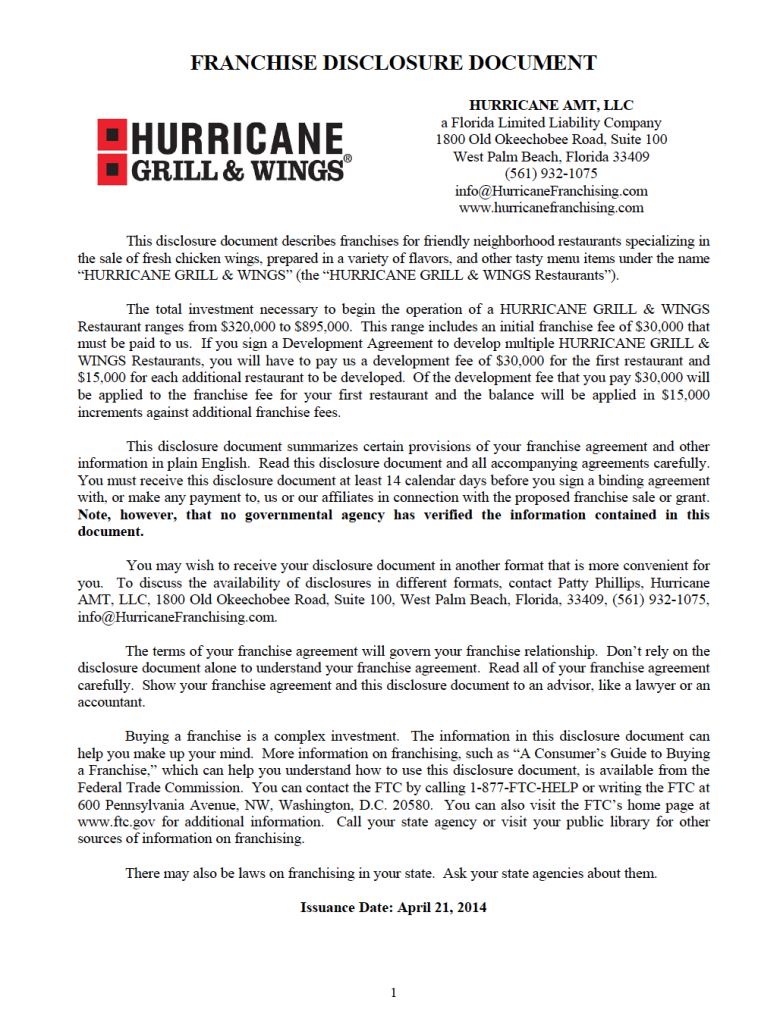 Fdd For Hurricane Grill  Wings Franchises  Franchise Disclosure