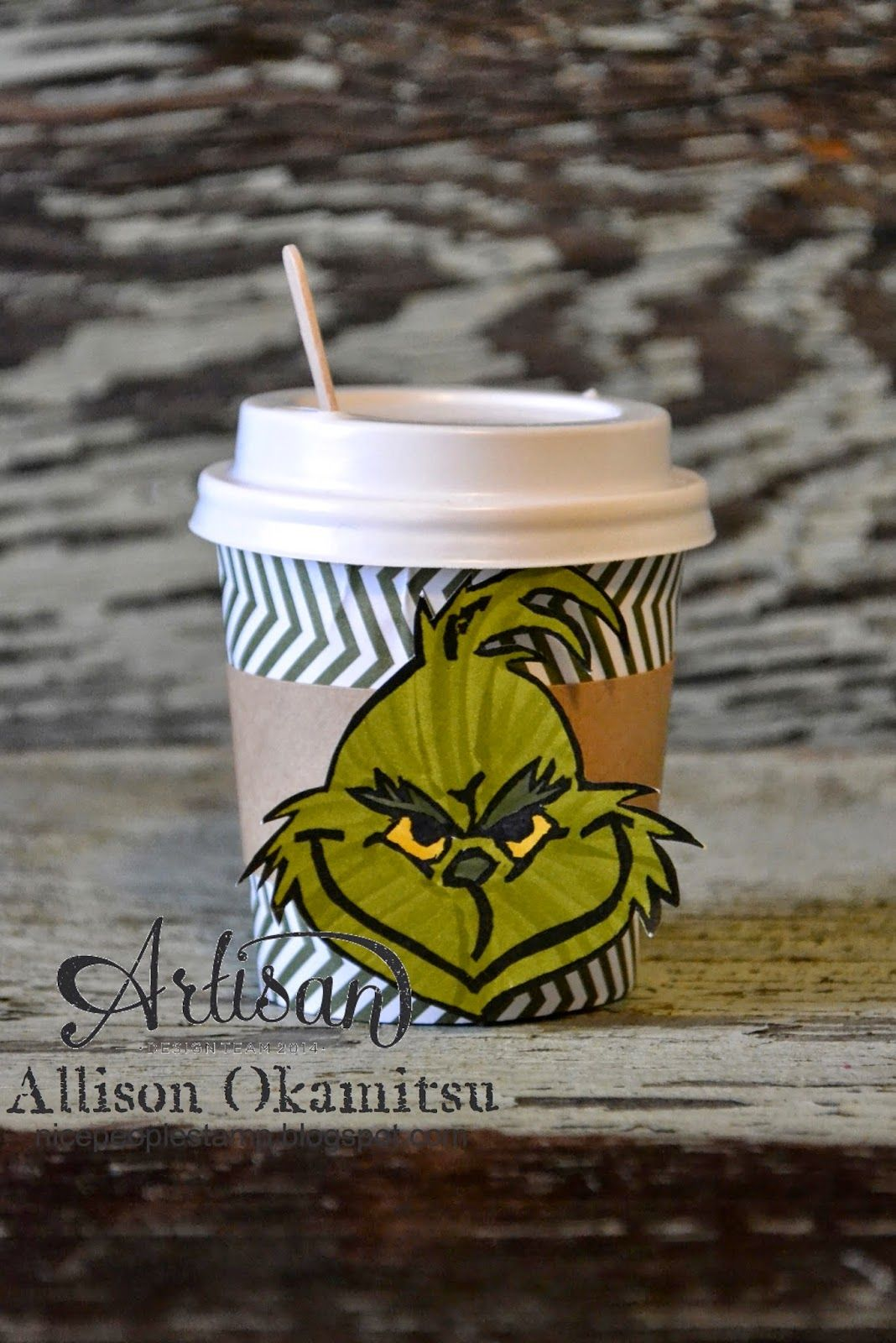 Grinch & Candy Cane Mini Coffee Cups (nice people STAMP