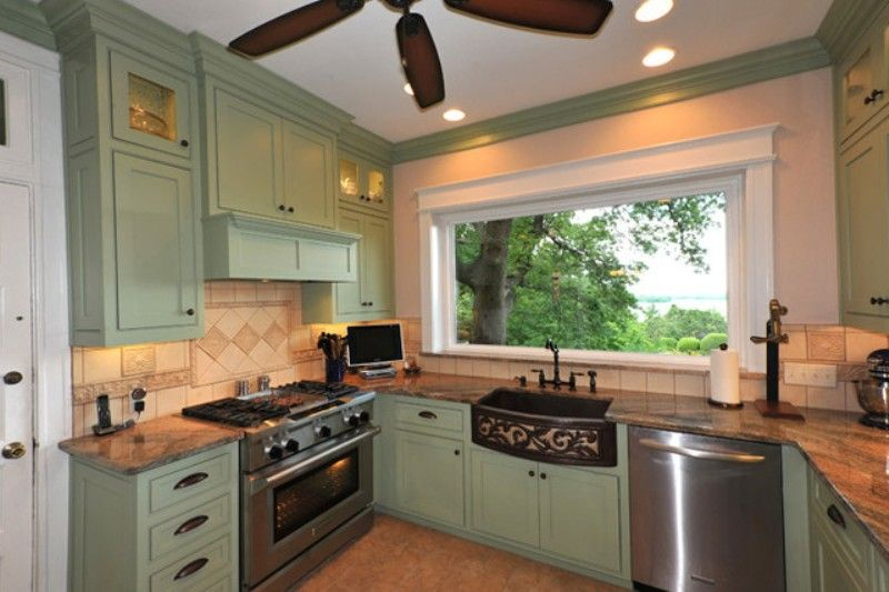 Gray Green Painted Kitchen Cabinets | colors | Pinterest | Green ...