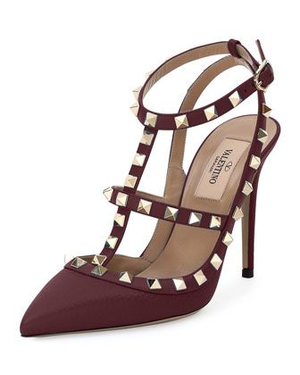 valentino garavani rockstud leather 100mm pump rubin