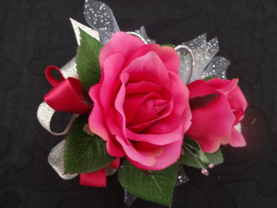 2 Piece wrist corsage and boutonniere in hot pink roses via Etsy