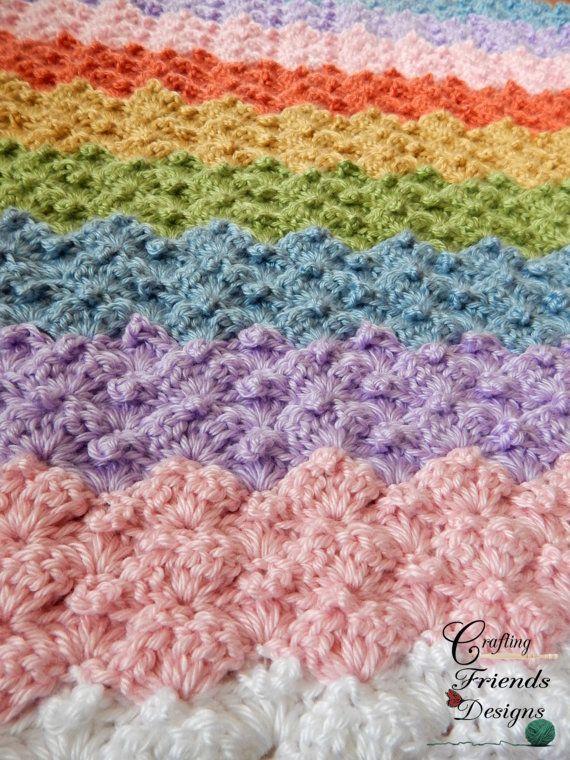 Crochet Pattern Peaked Shell Ripple Afghan Pinterest Ripple