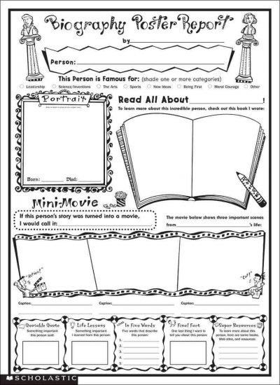 Doing biography reports are easy and fun with this fill-in poster - biography template