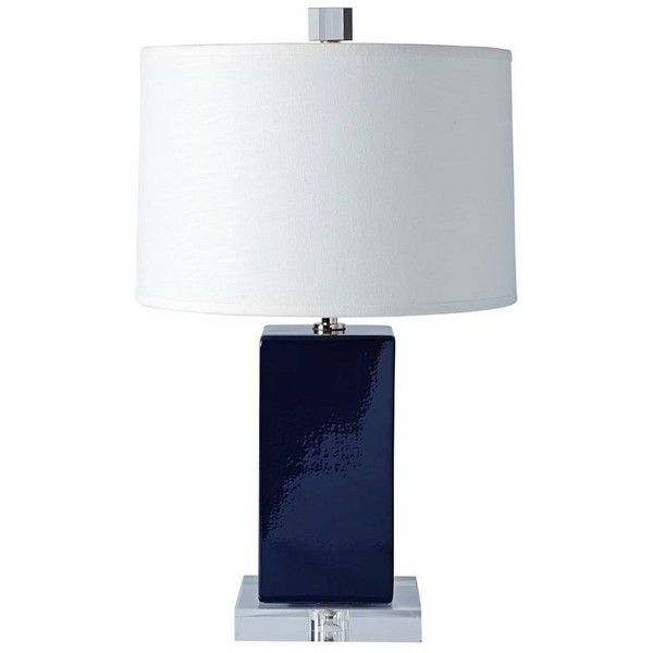 Serena Lily Darby Table Lamp Navy 398 Liked On Polyvore Featuring Home Lighting Table Lamps Dark Blue Table Lamp Mode Table Lamp Lamp Geometric Lamp