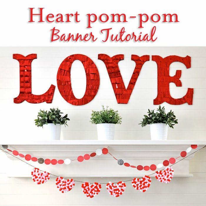 Holly Brooke Jones: DIY pom-pom heart Banner