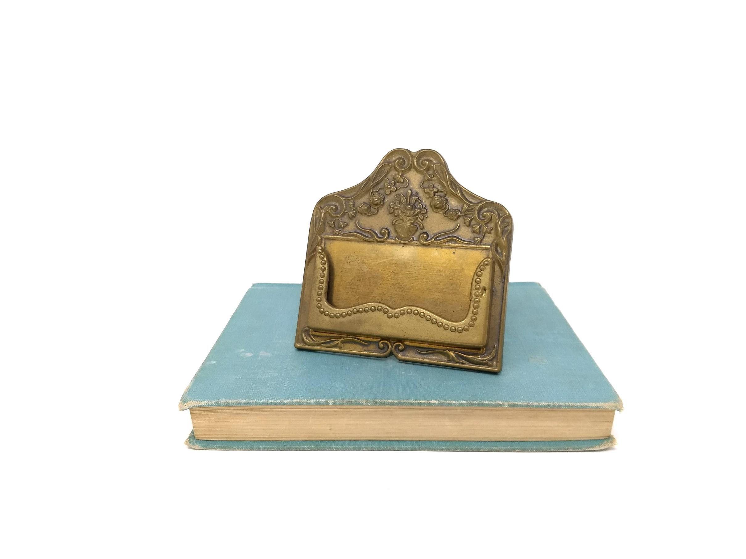 Vintage Brass Business Card Holder Stand Gold Display For Desk Card Holder Desk Personalized Business Card Holder Unique Business Cards
