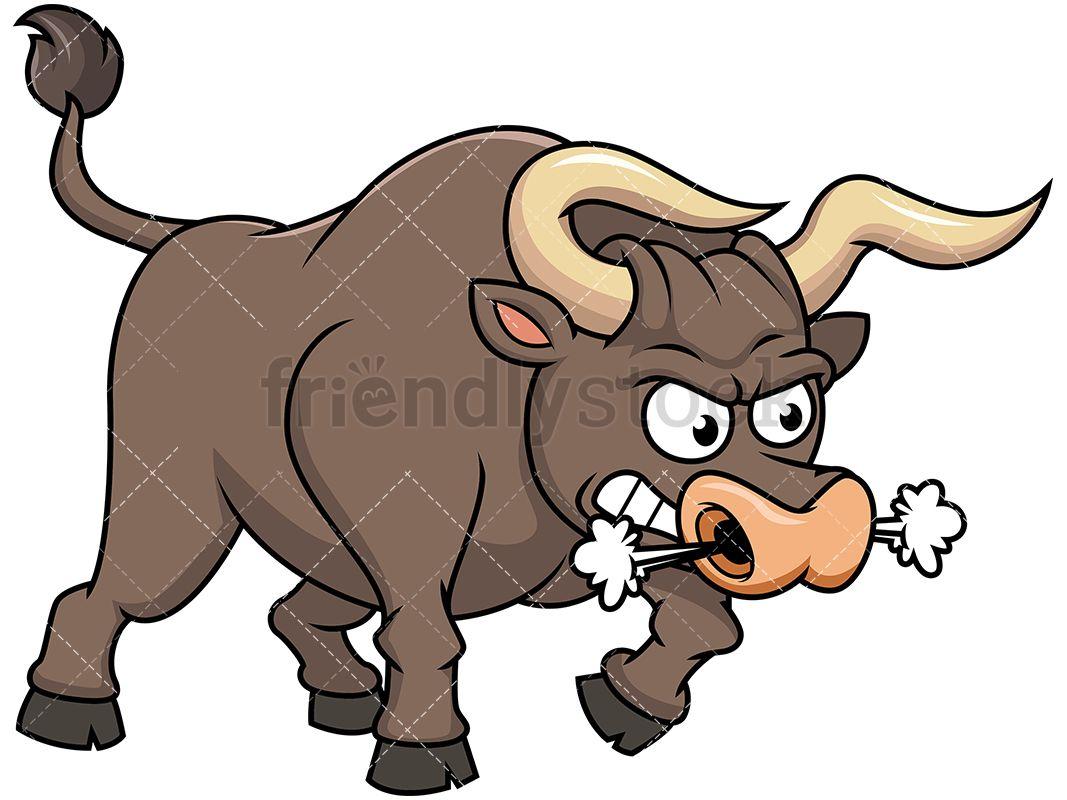 Angry Bull Blowing Smoke Cartoon Vector Clipart Friendlystock In 2020 Cartoons Vector Clip Art Cartoon