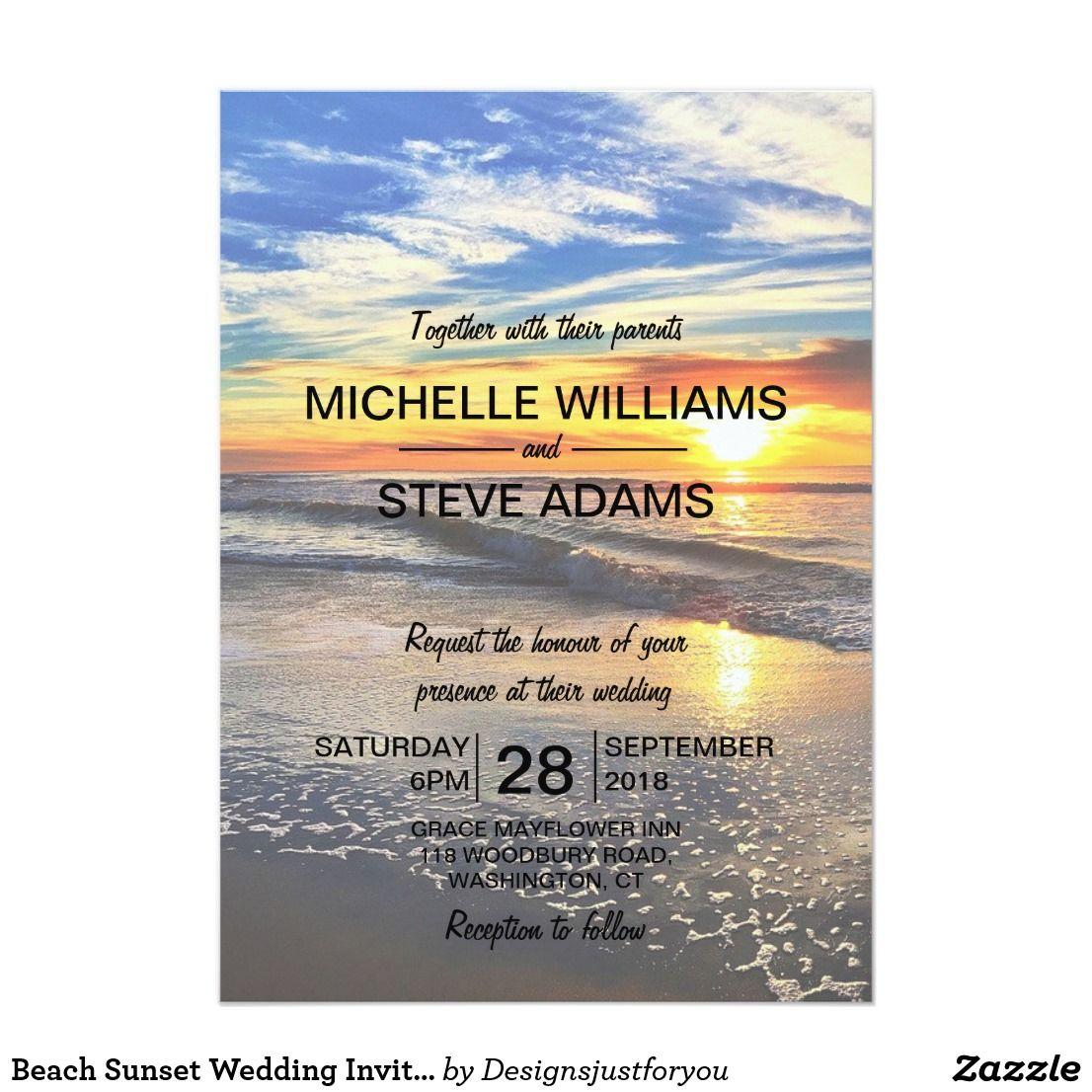Beach Sunset Wedding Invitation Sunset wedding, Beach