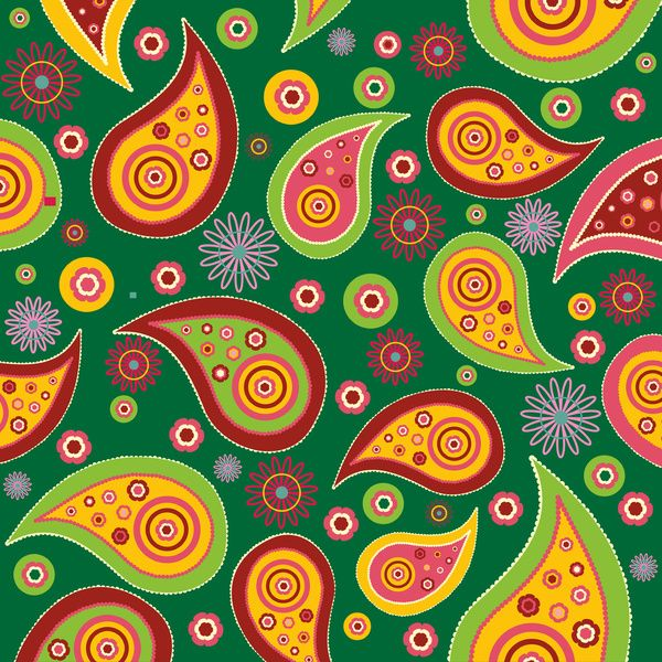 Oriental Persian Paisley - Green Yellow Red Art Print by Sitnica | Society6