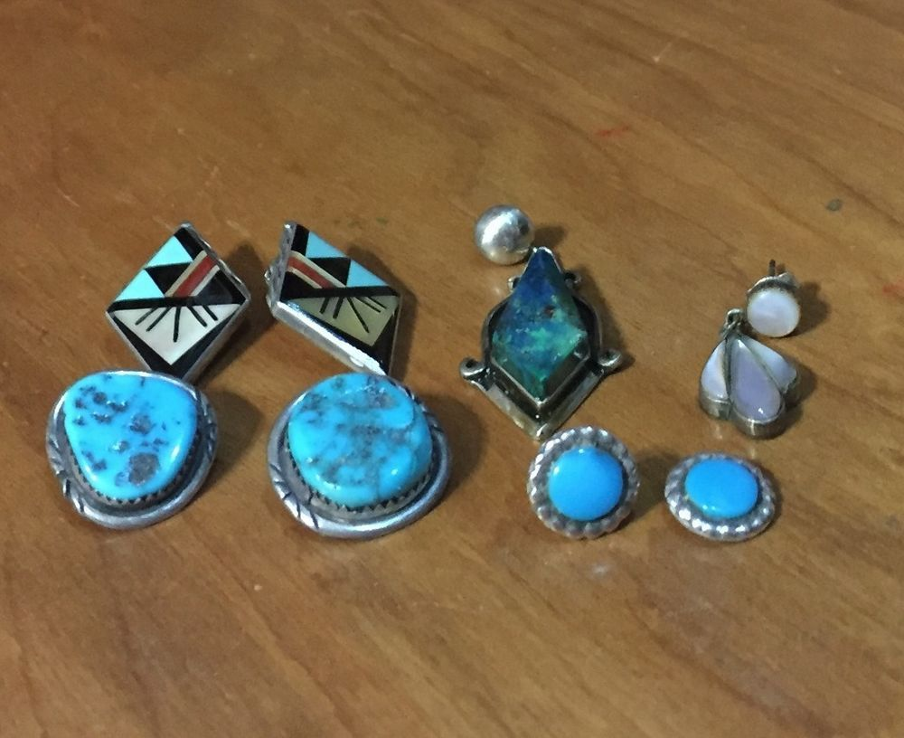 AZ Estate Find of Assorted Vintage 1970-80s Zuni & Navajo Orphan Earrings