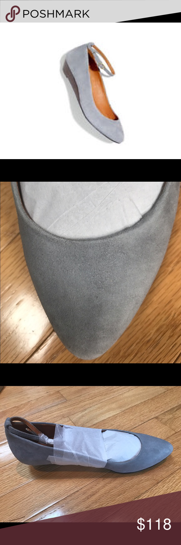 NIB Madewell 7 Ankle Strap Wedge Grey Gray Suede NIB Size 7 The Ankle Strap suede Mini Wedge Grey gray stonewall  Color: stonewall   Heels - approximately 1 inch. Madewell Shoes Wedges