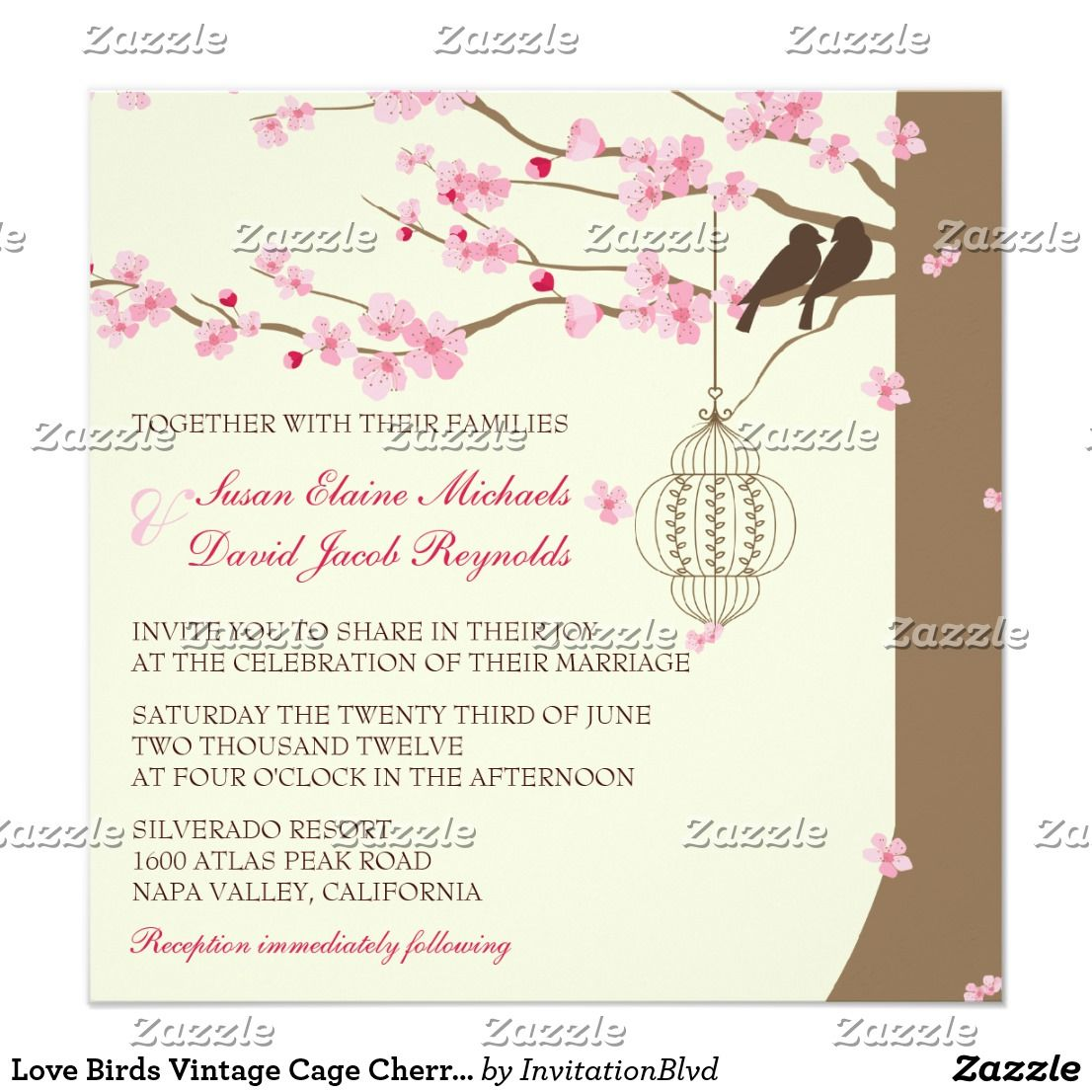 Love Birds Vintage Cage Cherry Blossom Wedding | Wedding Thank You ...