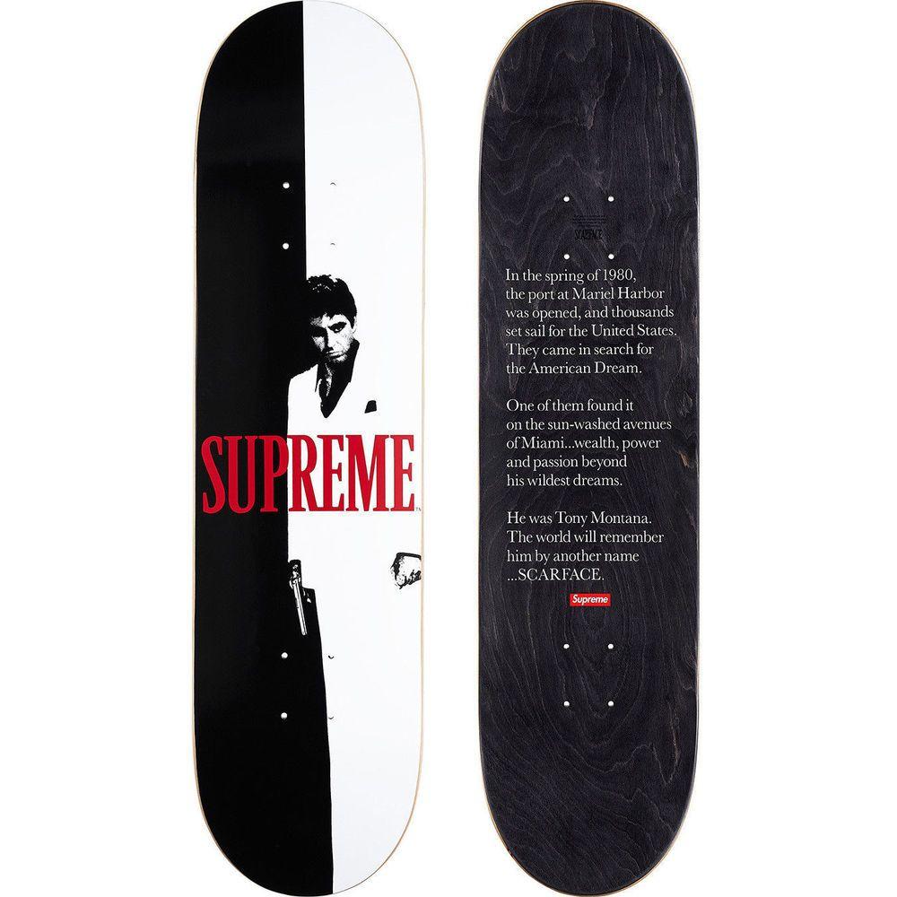 Supreme X Scarface Split Skateboard Deck Deadstock Accessory Fw17 Supreme Scarface Skateboard Decks Skateboard