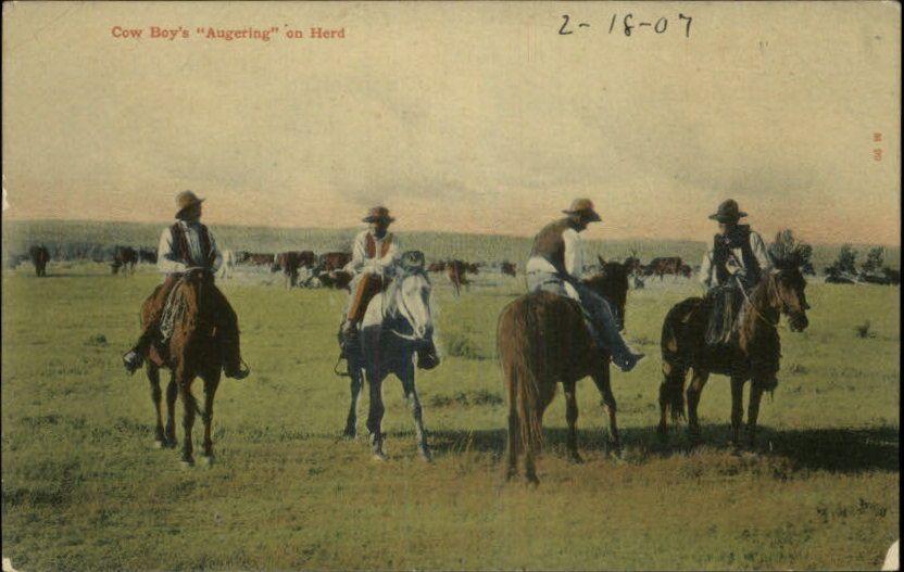 Cow Boy's Augering on Herd c1910 Old Postcard | eBay
