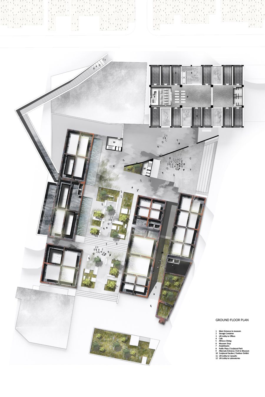 floor plan with fading texture Architecture site plan