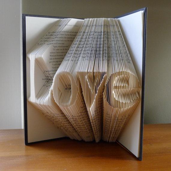 Paper Art Wedding Gift : ... Paper AnniversaryLOVEFolded Book Art SculptureUnique Wedding