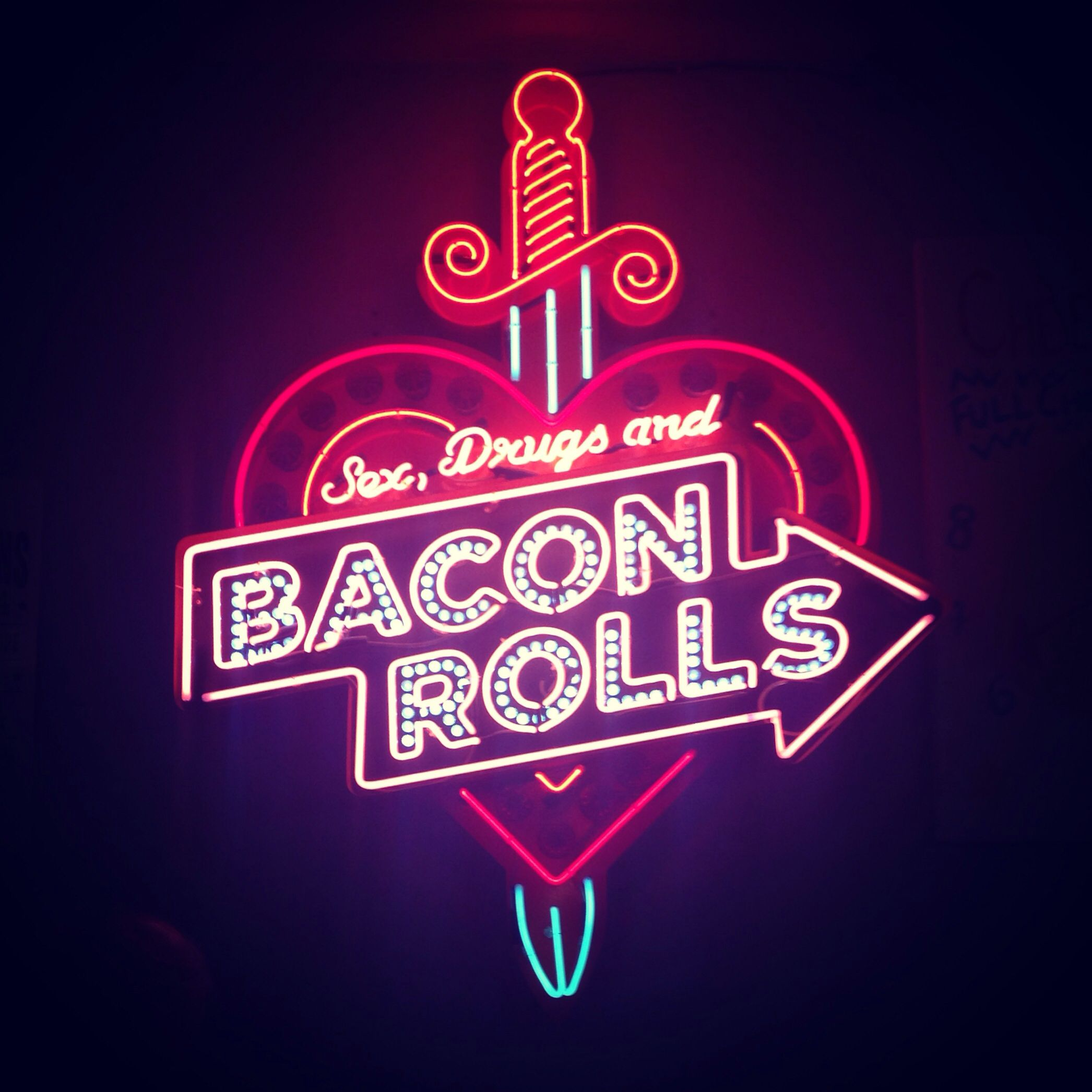 Neon light in The Breakfast Club, Shoreditch, London ...