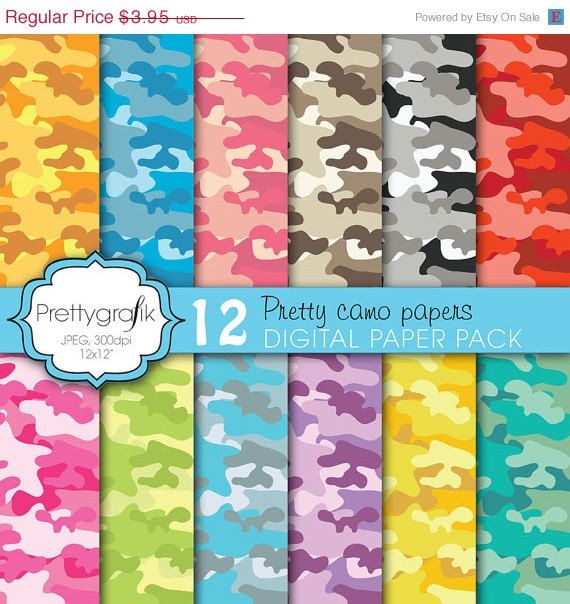 60 OFF SALE 12 camouflage digital paper pack by Prettygrafikdesign, $1.58