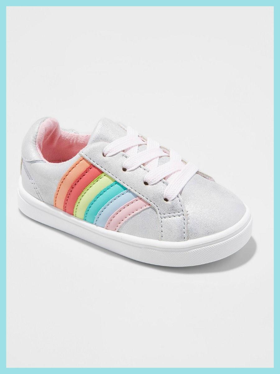 Toddler girls low top rainbow sneakers