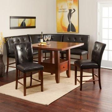 Art Deco Themed Breakfast Nook Counter Height Dining Table Set Home Breakfast Nook Set