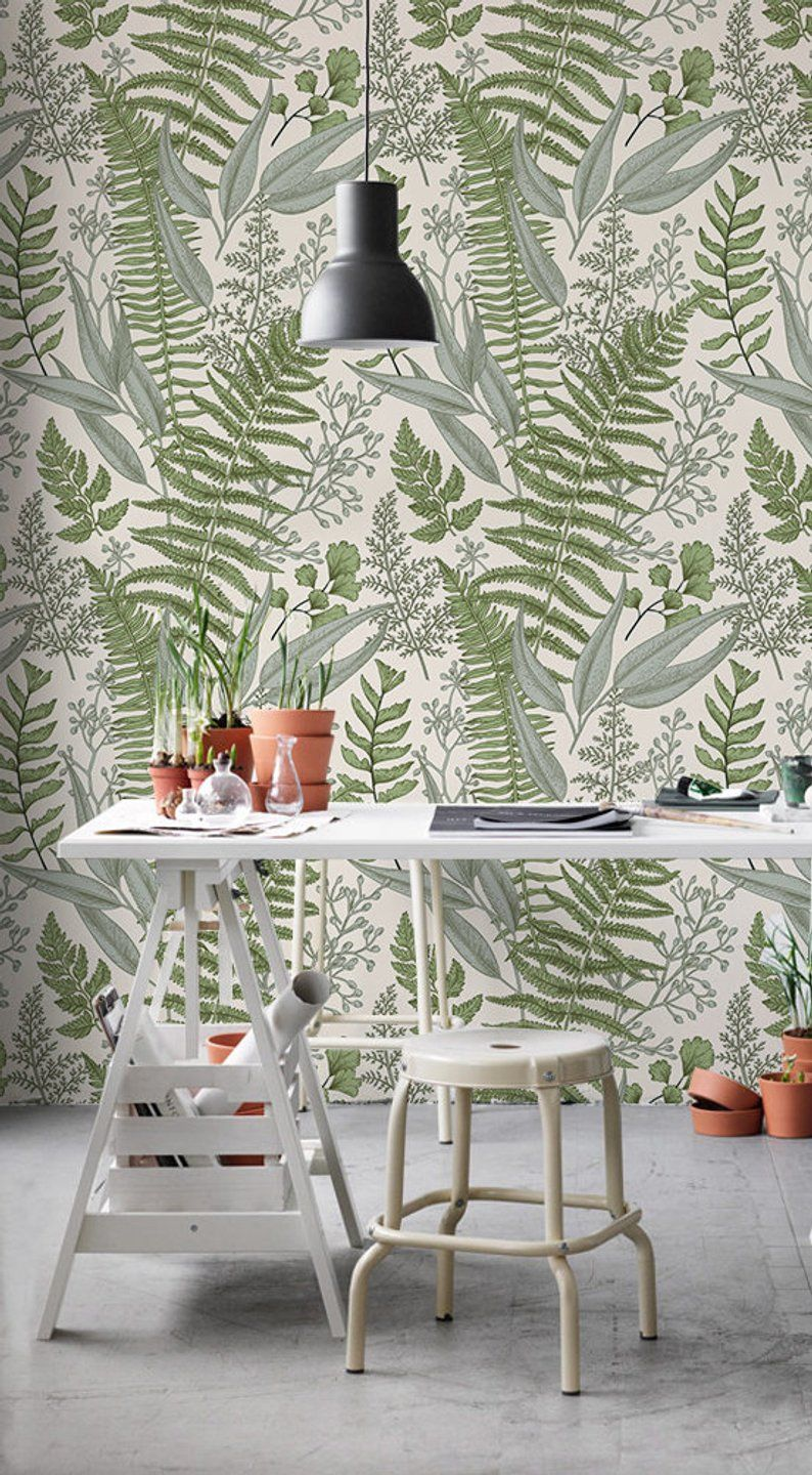 Ferns Composition Removable Wallpaper Green And Beige 21 Etsy Removable Wallpaper How To Install Wallpaper Traditional Wallpaper