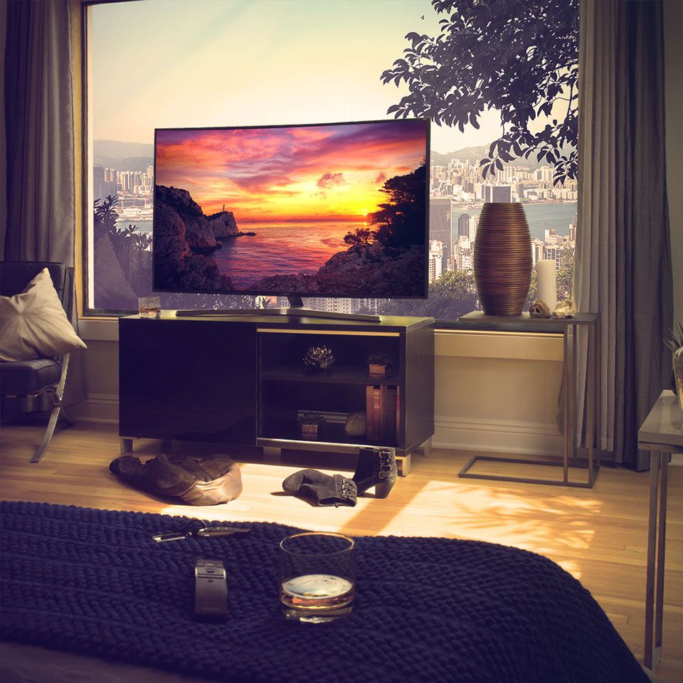 Suhd Tv In Front Of Window Tv Room Home Decor