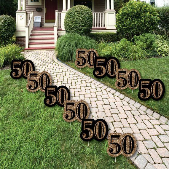 50th Birthday - Lawn Decorations -  Outdoor Birthday Party Yard Decorations - Adult 50th Birthday - Gold Lawn Ornaments - 10 Piece Set #moms50thbirthday