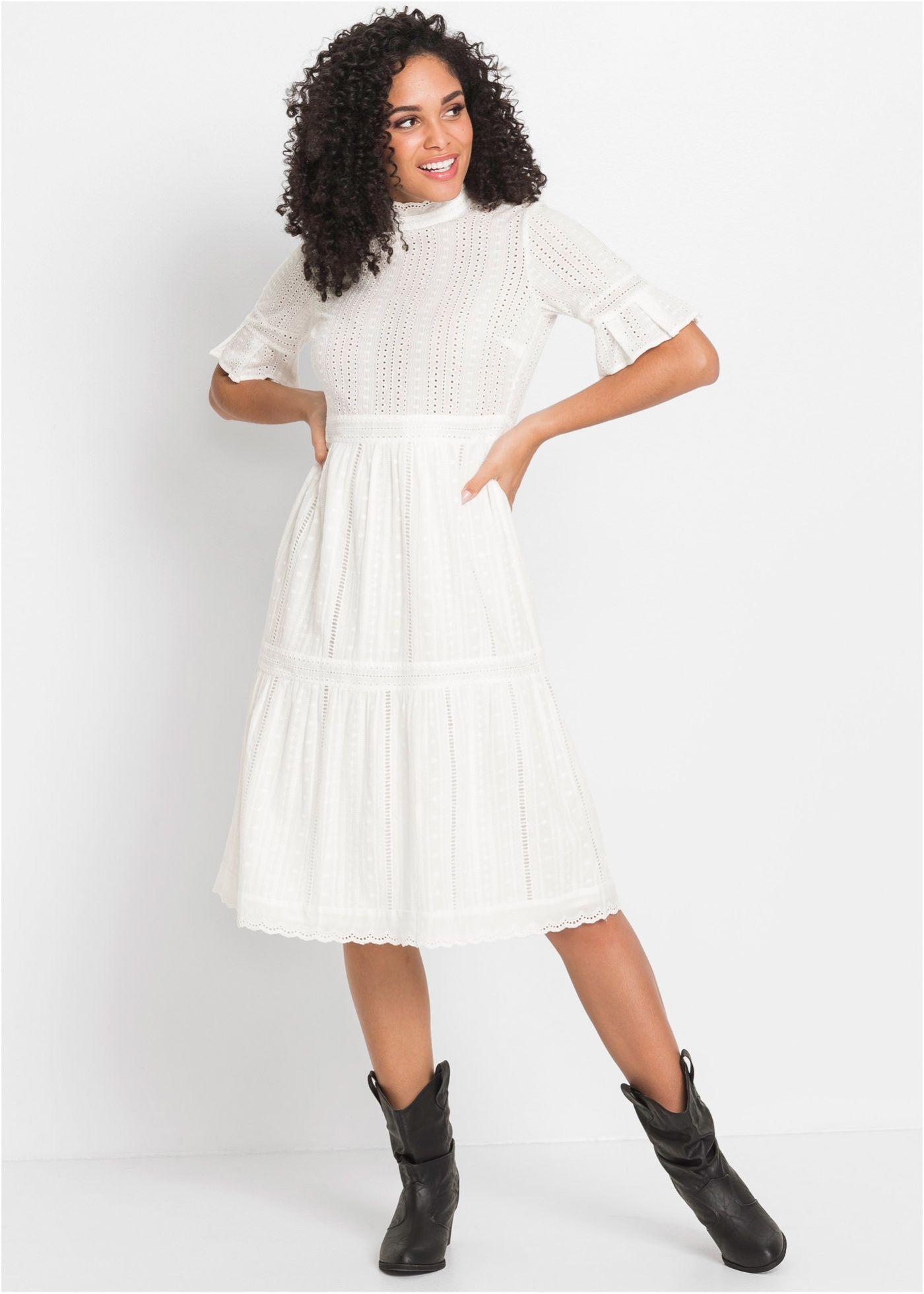 Baumwoll-Kleid mit Spitze   Kleid spitze, Spitzenkleid ...