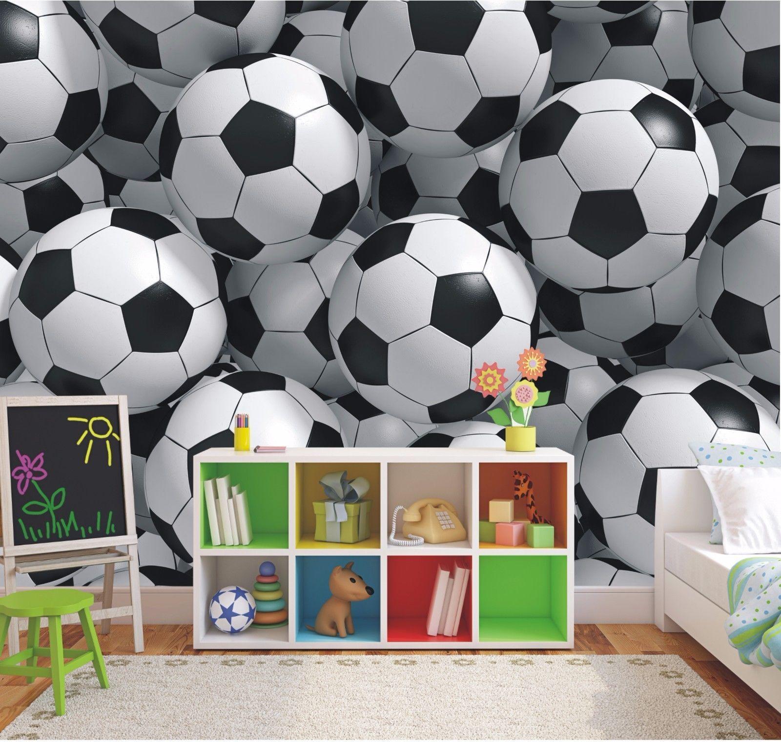 3d Footballs Wallpaper Mural Boys Bedroom Soccer Photo Wall Mural 12420885 Boys Room Mural Mural Wallpaper Boys Soccer Bedroom