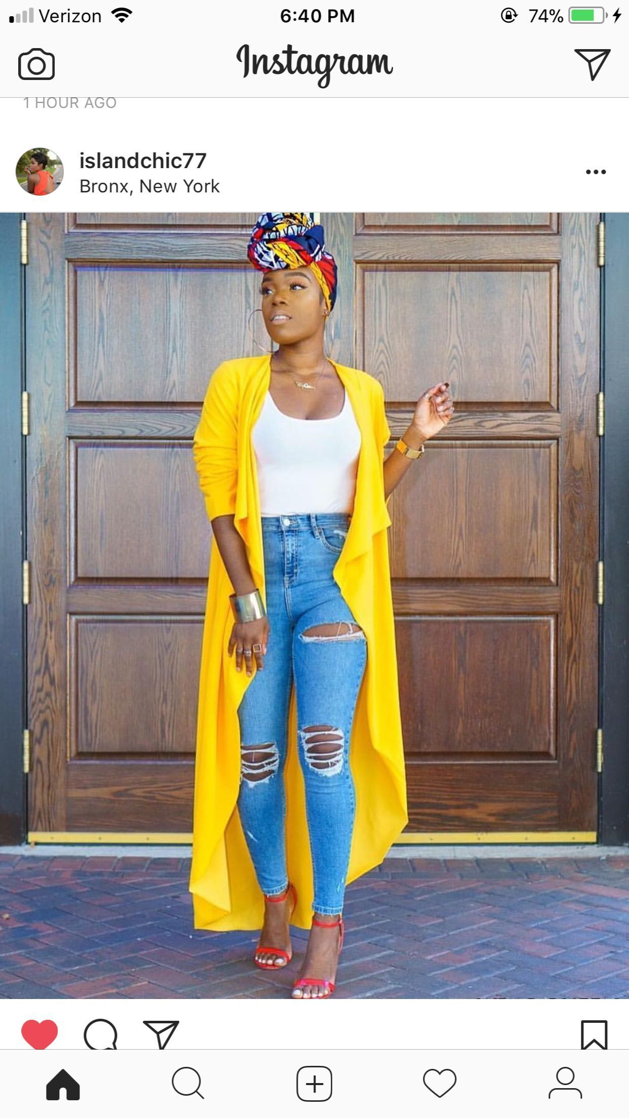 Yellow duster white tank distressed jeans scrappy shoes head