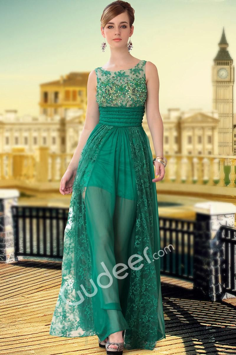 Beaded sheer sleeveless floor length elegant evening formal dress