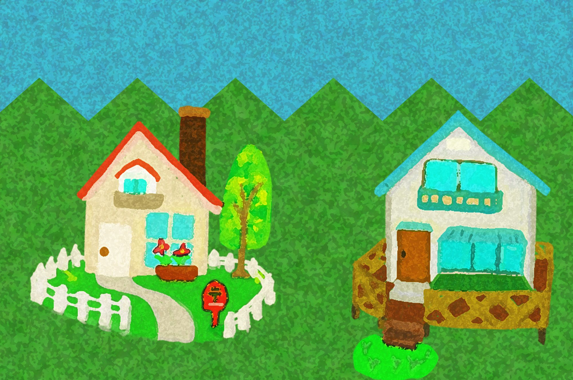 手描きの可愛い家のイラストフリー素材4つセット 家のイラスト
