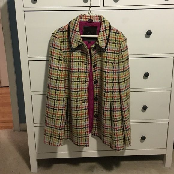 Coach pea coat - tattersall Adorable coat - size large - rarely worn - great condition Coach Jackets & Coats Pea Coats