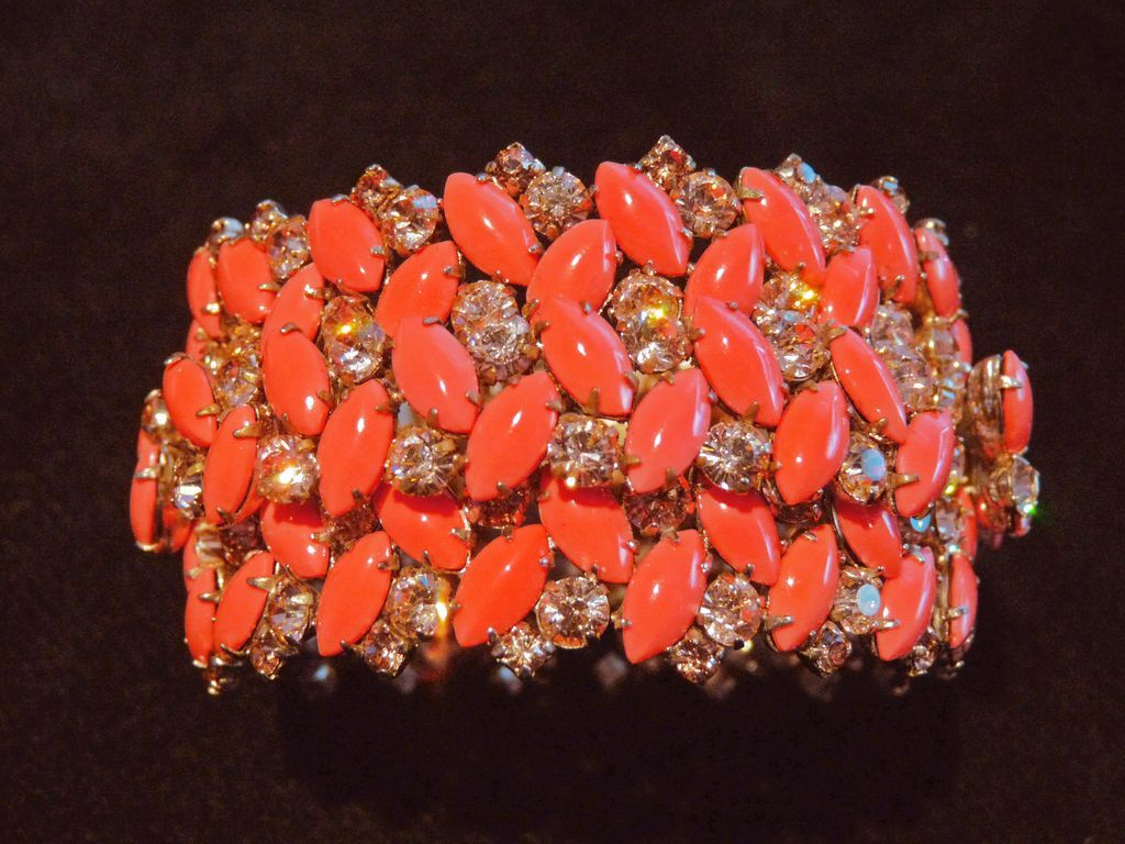 Very Rare Coral-Coloured Opaque Unsigned Sherman Cuff Bracelet.