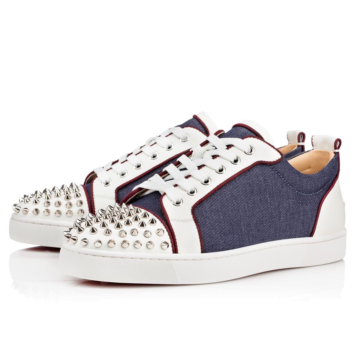 8ca932f57d80 CHRISTIAN LOUBOUTIN Louis Junior Spikes Orlato Men s Flat Version  Blue Silver Leather - Men Shoes - Christian Louboutin.  christianlouboutin   shoes