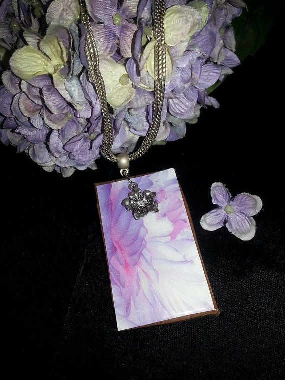 Violet Watercolor Pendant by MADDjewels on Etsy, $20.00