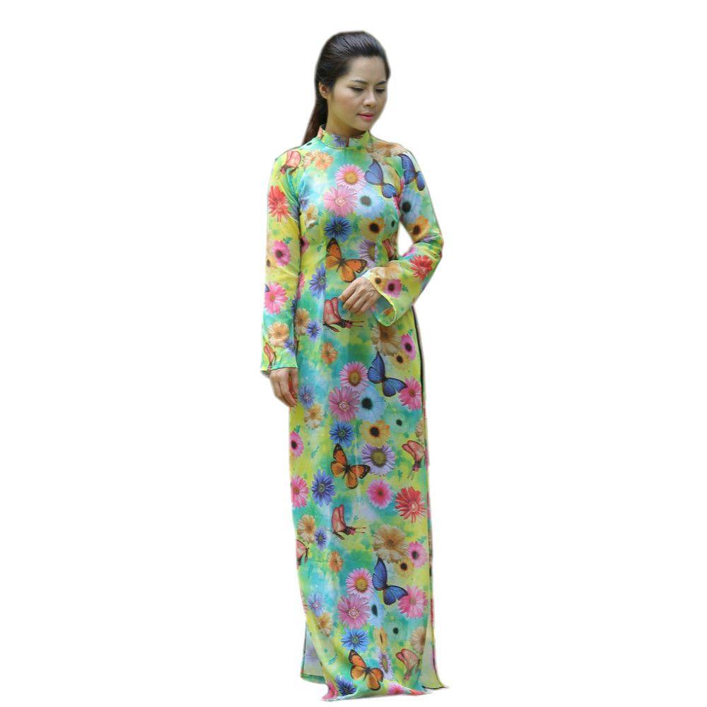 Floral AO DAI Vietnam CUSTOM MADE, Chiffon Dress, Black Satin Pant