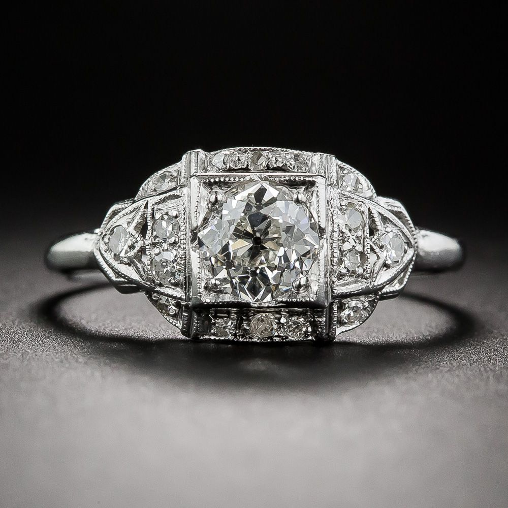 .72 Carat Platinum and Diamond Art Deco Engagement Ring - 10-1-6811 - Lang Antiques
