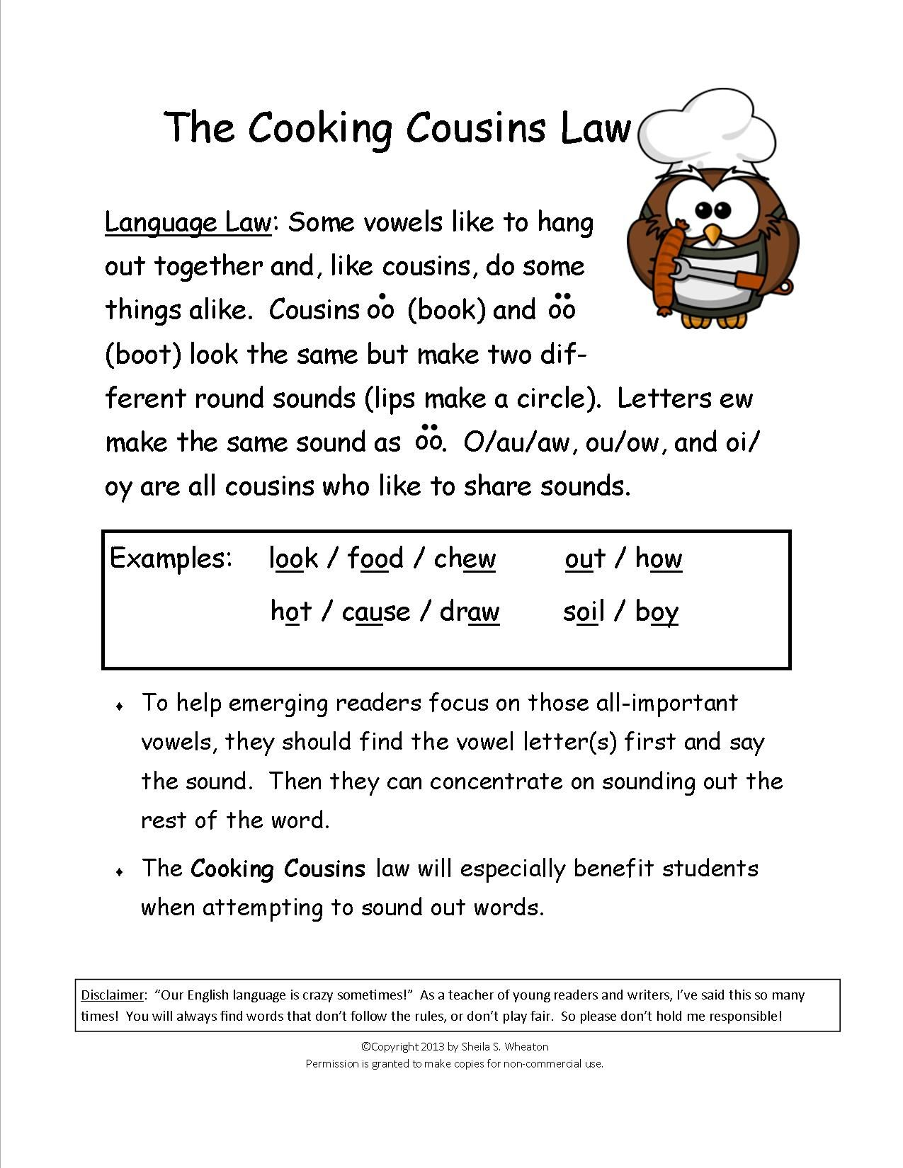 Worksheets Words With Oo Sound Like Book cooking cousins teaches the sounds made by oo book food ew food
