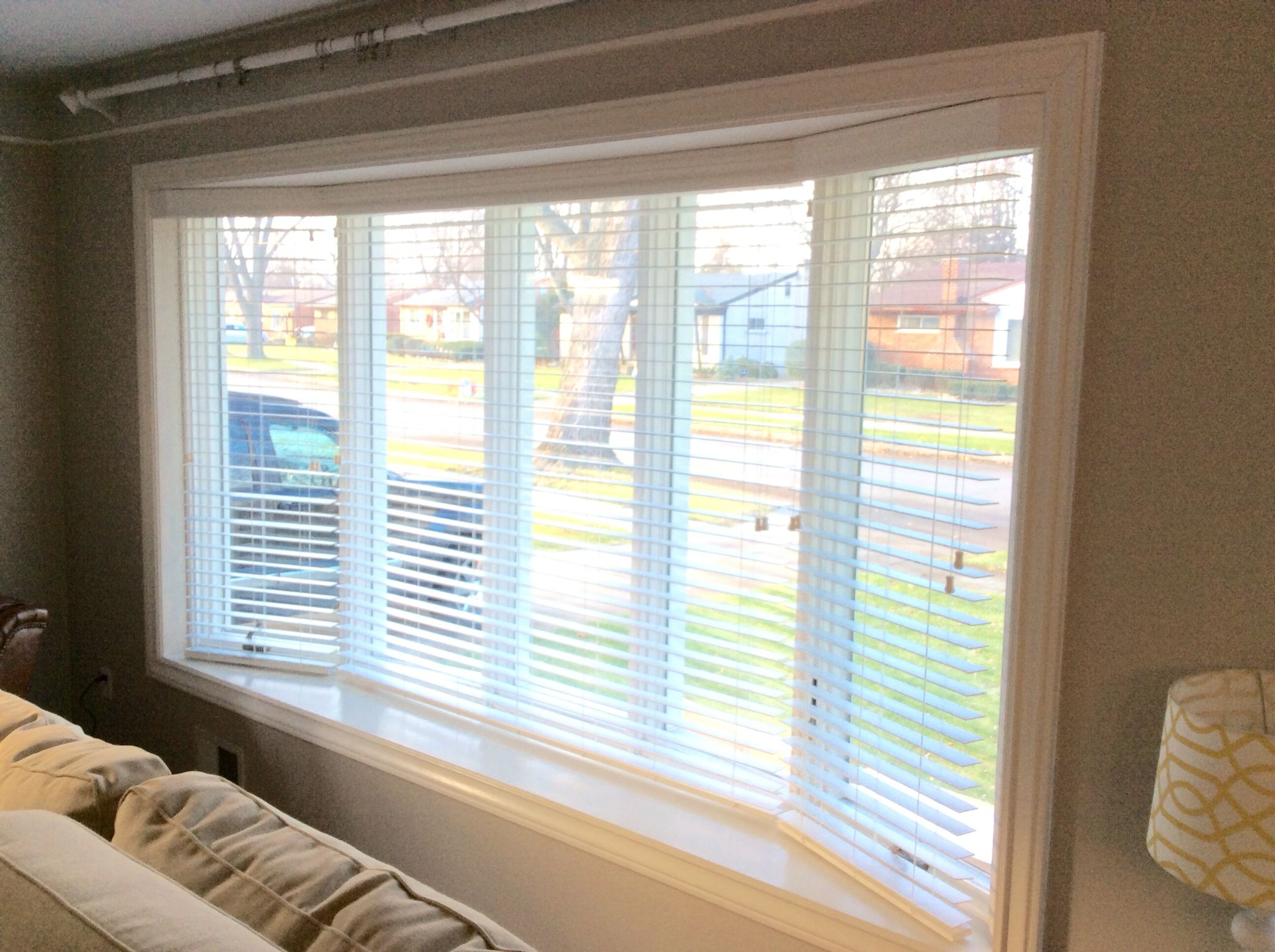 Three 2 Faux Wood Blinds In Five Window Bay With Custom Mitered Valance Beautiful And Practical Sol Bow Window Living Room Basement Windows Faux Wood Blinds
